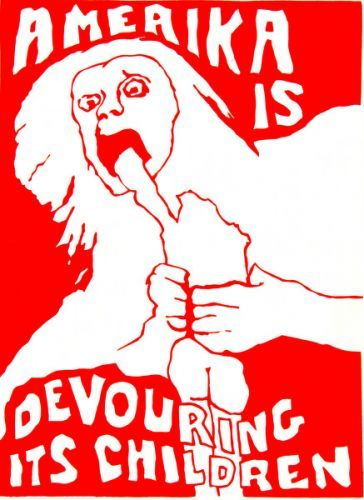 Amerika is devouring its children. Poster from the All of Us or None Archive, which was collected between 1977 and Collection of the Oakland Museum of California. Protest Kunst, Protest Art, Protest Posters, Political Posters, Caricatures, Vietnam, Propaganda Art, Francisco Goya, 3d Studio