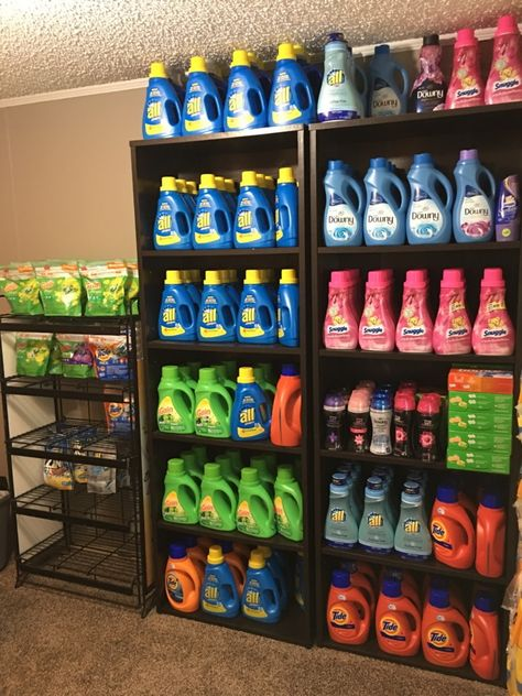 12 Laundry Detergent Stockpiles That Will Make You Envious - The Krazy Coupon Lady Small Bathroom Organization, Coupon Organization, Home Organization, Perfume Organization, Organizing Ideas, How To Start Couponing, Extreme Couponing, Energy Saving Tips, Save Energy
