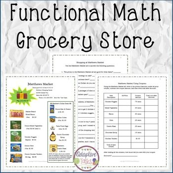 Functional Math Grocery Store Math Is A Set Of Worksheets To Reinforce Math Skills The Set Includes An Advertisement A Math Special Needs Students Volume Math