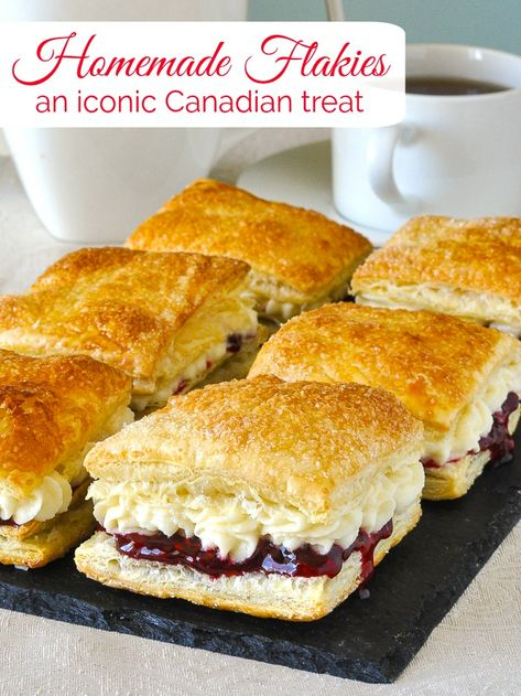 Homemade Flakies with raspberry compote & vanilla cream. A nostalgic tribute to the Vachon Flakie, one of my very favourite snack cake treats as a kid. #canada #canadianfood #puffpastry #puffpastryrecipes #easydessert