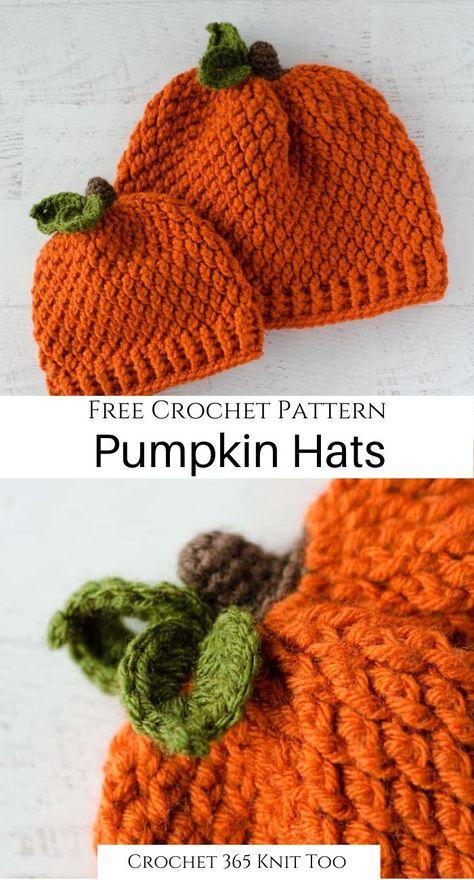 Crochet Pumpkin Hat, Crochet Fall, Crochet Bebe, Crochet Baby Hats, Crochet Gifts, Crochet Clothes, Easy Crochet, Free Crochet, Knit Crochet