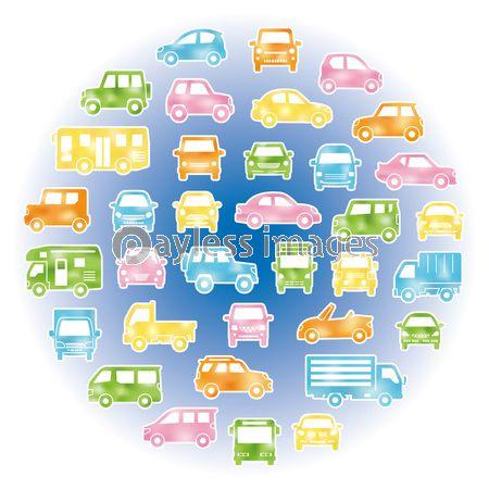 色々な車のサークル状アイコンギャラリー 水彩風シルエット 白フチありの写真 イラスト素材 Xf4595339994 ペイレスイメージズ 水彩 アイコン イラスト