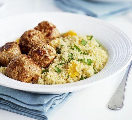 Moroccan turkey meatballs with citrus couscous recipe - Recipes - BBC Good Food
