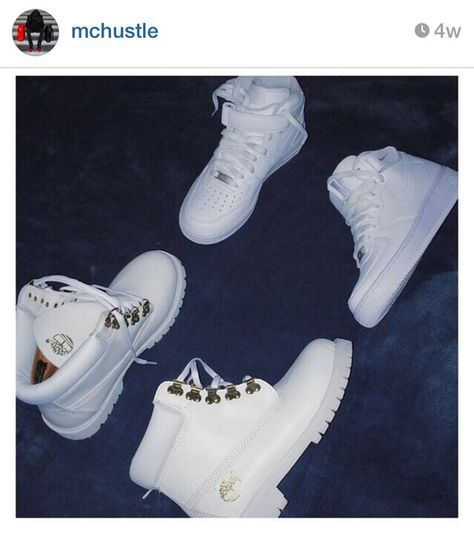 White Timberland & Nike Air Force 1s
