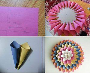Cara Membuat Hiasan Dinding Berbentuk Bunga Dari Kertas Origami