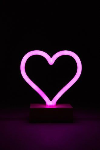 LED Heart Sign Night Light,Neon Heart Shaped Decor Light with Holder Base,Table light Marquee signs//Wall Decor for Christmas,Birthday party,Kids Room,Living Room,Wedding Party Decor Pink