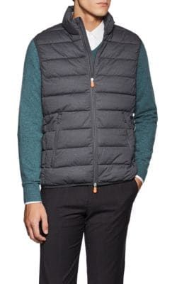 SAVE THE DUCK CHANNEL QUILTED TECH FABRIC VEST. #savetheduck