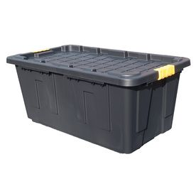Commander 40 Gallon 160 Quart Black Yellow Tote With Latching Lid Lowes Com Storage Bins Outdoor Storage Bin Wire Closet Organizers