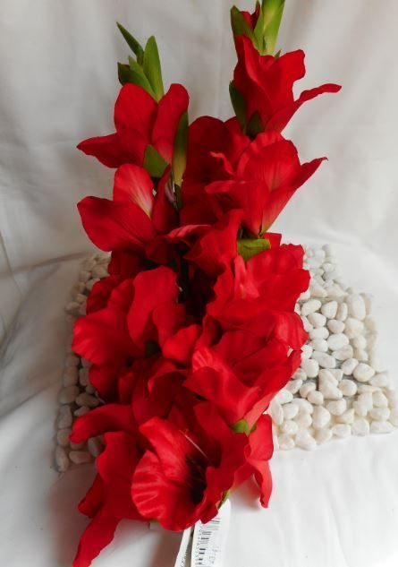 Artificial Gladiola Red 3 Stems Height 95 Cms Silk Flowers Artificial Flowers Flowers