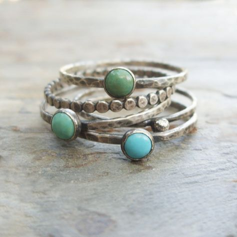 Tricolor Turquoise Stacking Rings in Antiqued Sterling Silver. Set of 5 Natural Stone Stacking Bands. Kingman Arizona Turquoise Tricolor Turquoise Stacking Rings in Antiqued by brightsmith