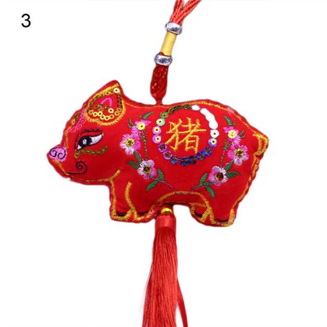 Ethnic Embroidery Pig Tassels Hanging Pendant Decor Chinese New Years Gift Fashi