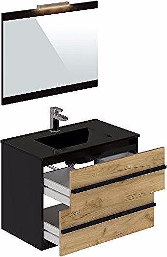 Meuble De Salle De Bain 80 Cm Koh Tao Imitation Chene Brut Et Noir Meuble Vasque But In 2020 Bathroom Vanity Single Vanity Vanity