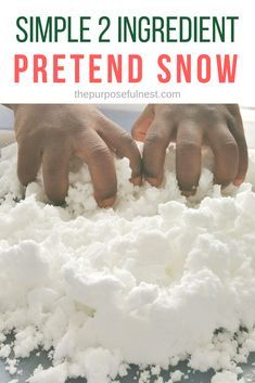 Learn how to make pretend snow with only 2 simple ingredients. The perfect winter sensory play idea.