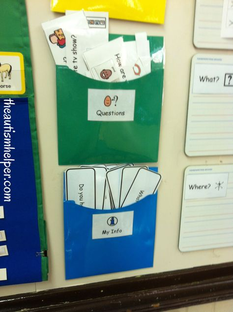 How to Organize Visual Questions for Children with Autism {use on a daily basis in morning meeting to work on building social skills}