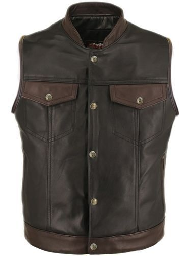 Motorcycle Leather Vest Two Tone American Made