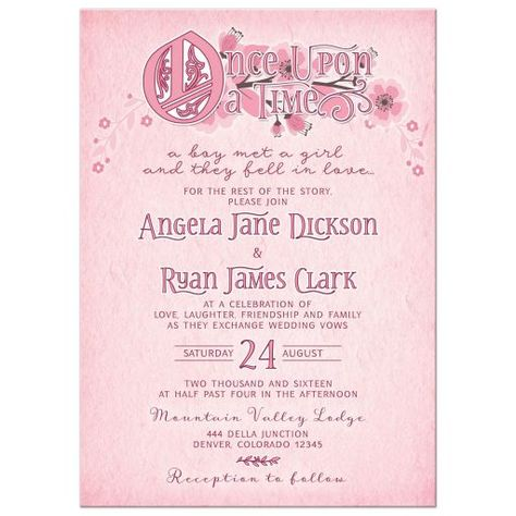 Whimsical pink, burgundy and white floral once upon a time fairy tale wedding invitation. This cute fairy tale wedding invitation features whimsical storybook style fonts with an illuminated text O for the once upon a time wording. The wording...