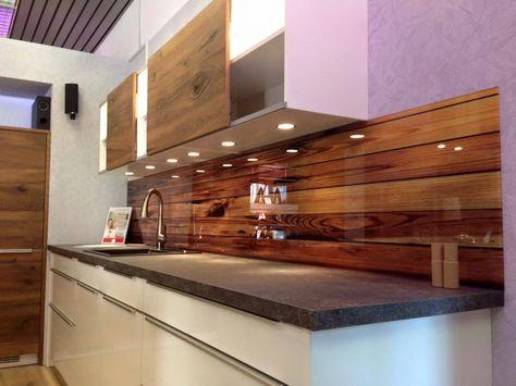 Küchenrückwand aus Glas in Holz Optik Küchenrückwand Pinterest - küchenrückwand aus plexiglas
