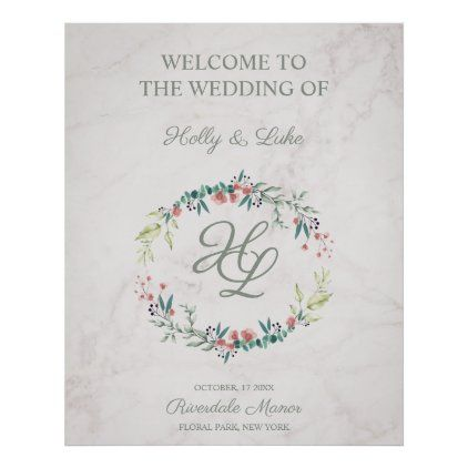 Wedding Floral Garland Soft Colors Initials Marble Poster Zazzle Com In 2020 Floral Garland Floral Wedding Soft Colors