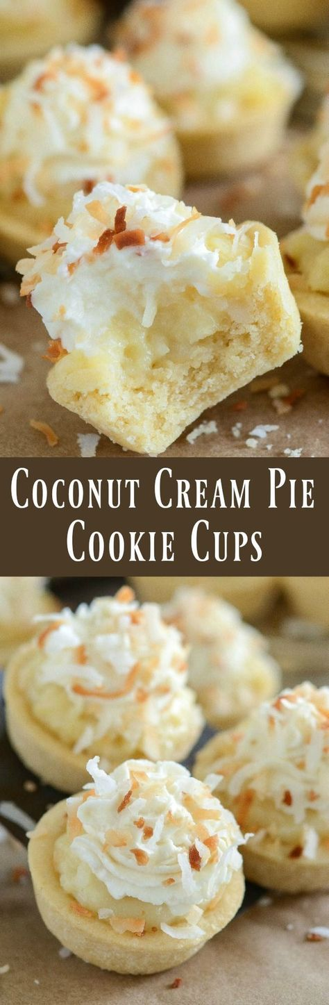 Cream Pie Cookie Cups - the perfect bite size combination of two classic desserts — coconut cream pie and sugar cookies!Coconut Cream Pie Cookie Cups - the perfect bite size combination of two classic desserts — coconut cream pie and sugar cookies! Mini Desserts, Brownie Desserts, Bite Size Desserts, Classic Desserts, Just Desserts, Delicious Desserts, Plated Desserts, Finger Desserts, Mini Dessert Recipes