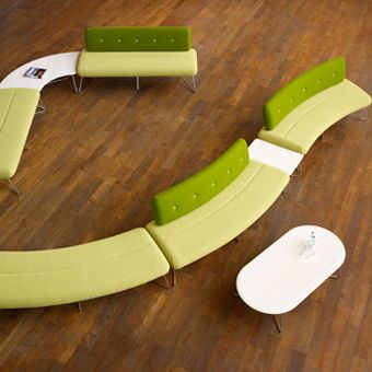 Freeflow Fully Upholstered Curved Bench. Table Connectors Sold Separately.  Choice With Or Without Backs