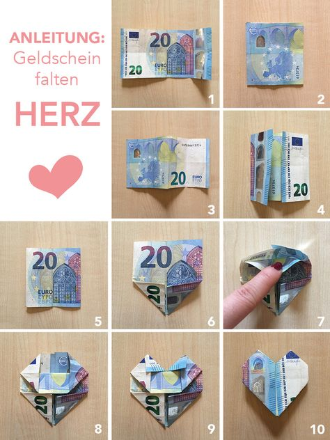 Tutorial Anleitung Geld Falten Herzen Diy