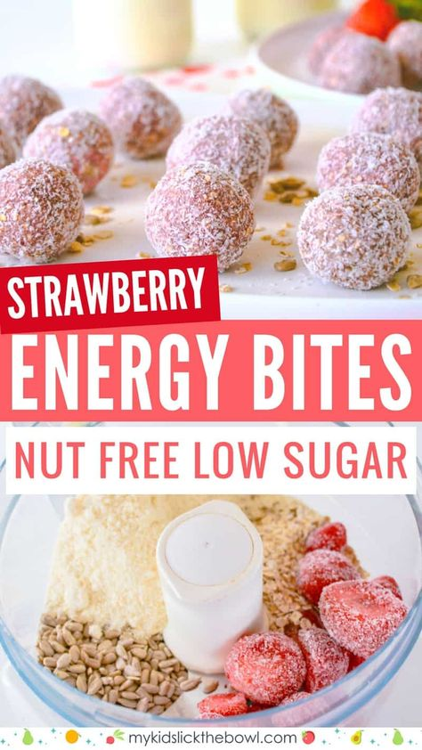Kids Meals healthy strawberry energy bites, healthy breakfast idea, nut free, low sugar , healthy snack for kids - Strawberry breakfast bites are a healthy low sugar energy ball packed with oats and sunflower seeds. Perfect as a snack or lunch box item Strawberry Breakfast, Strawberry Desserts Healthy, Snacks Sains, Breakfast Bites, Breakfast Energy, Breakfast Recipes, Breakfast Snacks, Lunch Snacks, Breakfast Smoothies