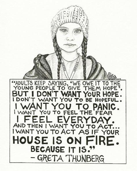 """Greta Thunberg Drawing - 6"""" X 9"""""""
