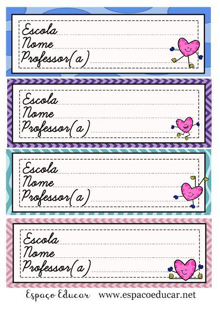 Etiquetas Para Caderno Ou Materiais Coloridas Gratis Para Imprimir