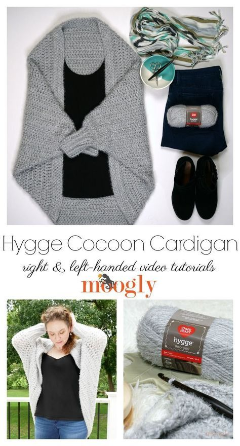 The Hygge Cocoon Cardigan Tutorial is here to guarantee you understand all the stitches and all the details of this free easy crochet sweater pattern made with Red Heart Yarns Hygge! Pattern, supplies, and right and left-handed videos on Moogly! Crochet Cardigan Pattern, Crochet Shawl, Knit Crochet, Crochet Sweaters, Moogly Crochet, Crochet Cocoon Pattern, Diy Crochet Clothes, Crochet Stitches, Easy Crochet Shrug