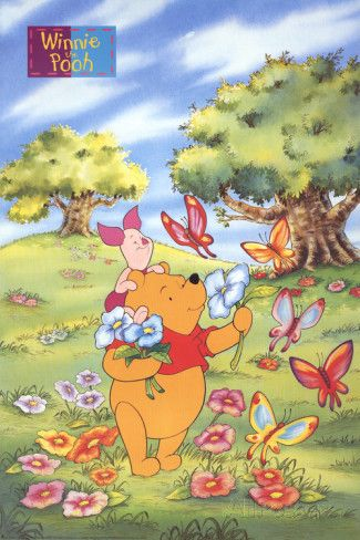 Winnie the Pooh and Piglet with Butterflies Art Print
