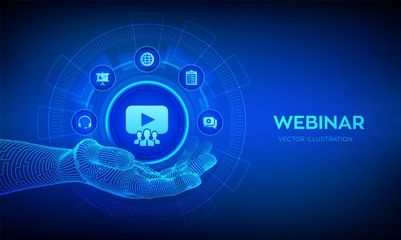 Webinar Icon In Robotic Hand Internet Conference Web Based Seminar Distance Learning E Learning Training In 2020 Online Training Courses Cyber Law Training Design