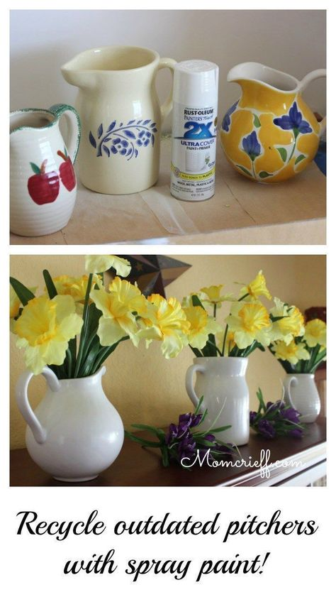 White pitchers daffodils - make your own! Recycle / upcycle dated pitchers with some white spray paint. Quick and easy DIY to get that modern white look! Full step by step tutorial on how I do this. - Momcrieff diy and crafts upcycle Thrift Store Diy Clothes, Thrift Store Furniture, Thrift Store Crafts, Thrift Stores, Thrift Store Finds, Thrift Store Decorating, Goodwill Finds, Upcycled Crafts, Diy Crafts
