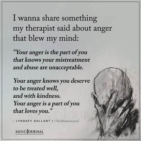 """I wanna share something my therapist said about anger that blew my mind: """"Your anger is the part of you that knows your mistreatment and abuse are unacceptable. Your anger knows you deserve to be treated well, and with kindness. Your anger is a part of you that loves you."""" – Lyndsey Gallant #anger #mentalhealth #abuse"""