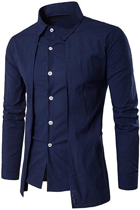 EspTmall Mens New Recreational Button Long Sleeve Shirt Fashion Pure Long Sleeve Top Black XXL China