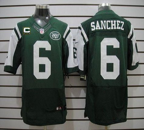 ... Nike Jets 6 Mark Sanchez Green Team Color With C Patch Mens Embroidered  NFL Elite Jersey Jets 10 Santonio Holmes ... 028d305f7