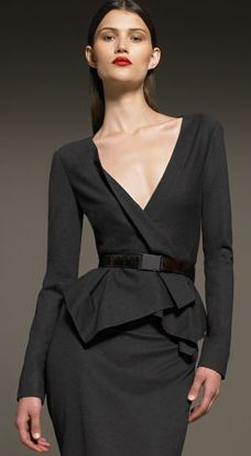 Wearable Trends: Donna Karan Belted Cascade Jacket & Drape Back Pencil Skirt