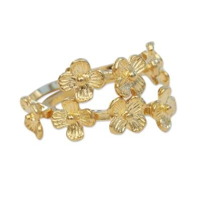Gold Plated Brass Cocktail Ring Lively Bouquet In 2020 Gold Cost Today Gold Price Gold
