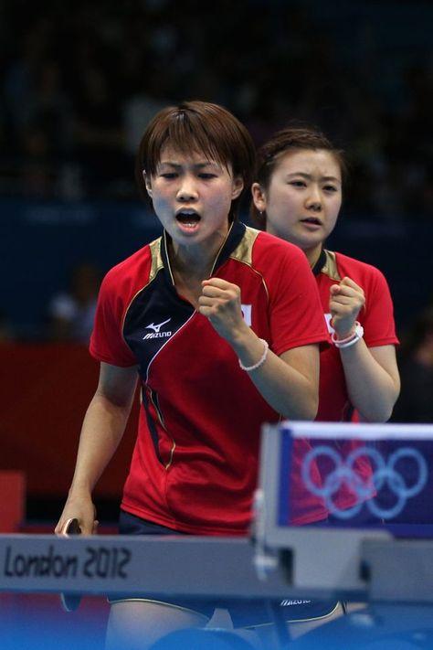 London England August 04 Ai Fukuhara And Sayaka Hirano Of Japan Celebrate During Women S Team Table Tennis Quarterfinal Table Tennis Tennis Photos Olympics