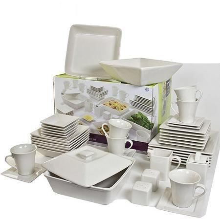 10 Strawberry Street Nova Square Banquet 45-Piece Dinnerware Set Cream White