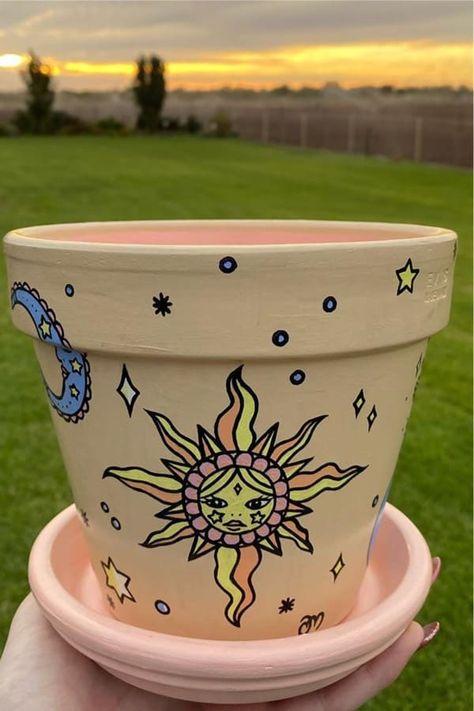 Flower Pot Art, Flower Pot Crafts, Clay Pot Crafts, Flower Pot Design, Painted Plant Pots, Painted Flower Pots, Painting Terracotta Pots, Pottery Painting, Diy Painting