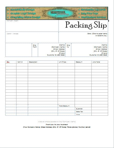 Custom Header Packing Slip for your Business! Use your Etsy Shop - packing slip