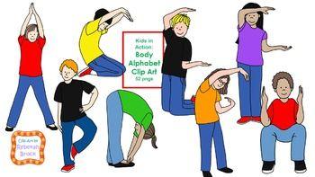 Kids In Action Body Alphabet Clip Art 52 Pngs Body Preschool Alphabet For Kids Sight Word Fun