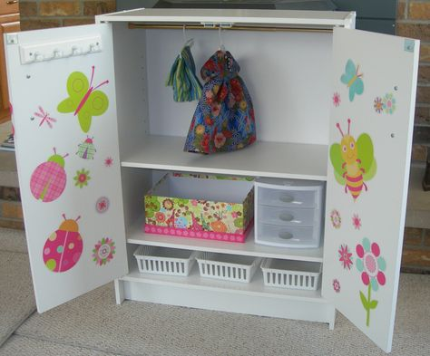 American Girl Doll closet.  Small cabinet, tension curtain rod, variety of containers, and some cute decals!!