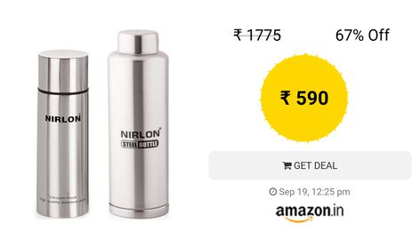 194300ce2c1 Nirlon Stainless Steel Flask and Freezer Bottle Set