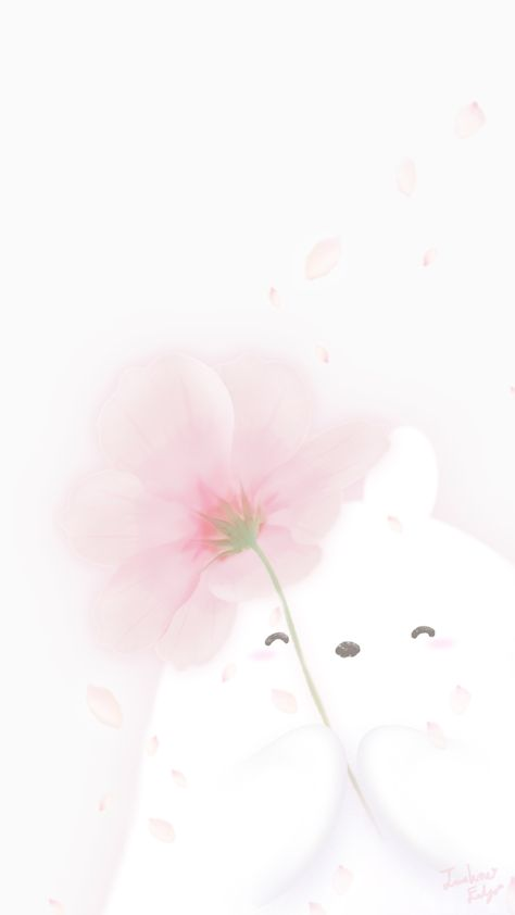 rabbit character WaCho illust wallpaper design spring, flower, smile, happy, pink, white #rabbitillust #토끼일러스트 #봄 #벚꽃 #꽃 #예쁜배경화면