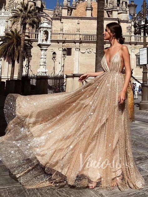 Champagne Glittering Gold Prom Dresses with Straps FD1497