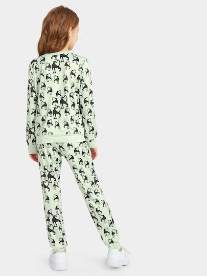 Girls Allover Animal Print Sweatshirt Sweatpants Set Shein