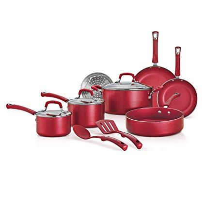 Tramontina 80143 516 Style Aluminum Nonstick Cookware Set Raspberry Red 12 Piece Made In Usa Review Nonstick Cookware Cookware Set Dishwasher Safe Cookware