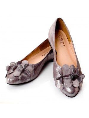 Piekne Polskie Balerinki 1794 Skorzane Ozdoba Kwiat Aleksja Satynowo Szare Shoes Fashion Flats