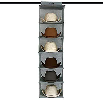Amazon Com Boxy Concepts Cowboy Hat Rack For Closets 6 Shelves Closet Hanging Woven Fabric Cowboy Hat Holder F Cowboy Hat Rack Hat Organization Hat Holder